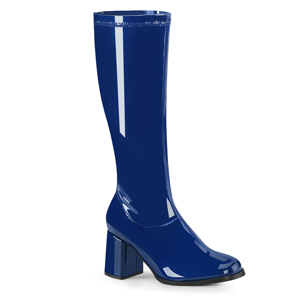 Gogo 300 Blue Patent Knee High Boots