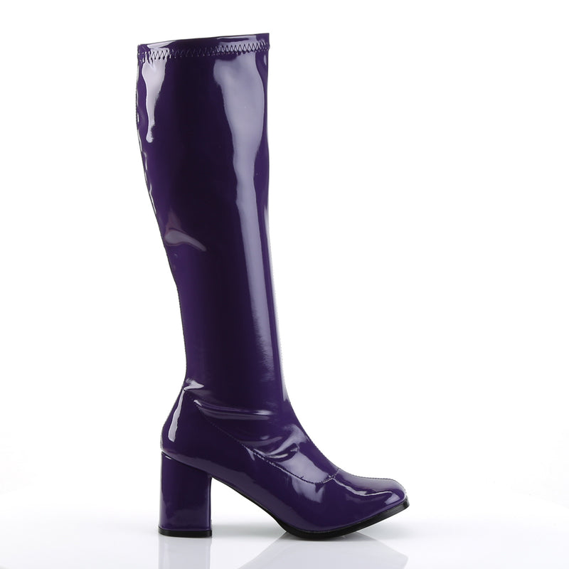Gogo 300 Purple Patent Knee High Boots
