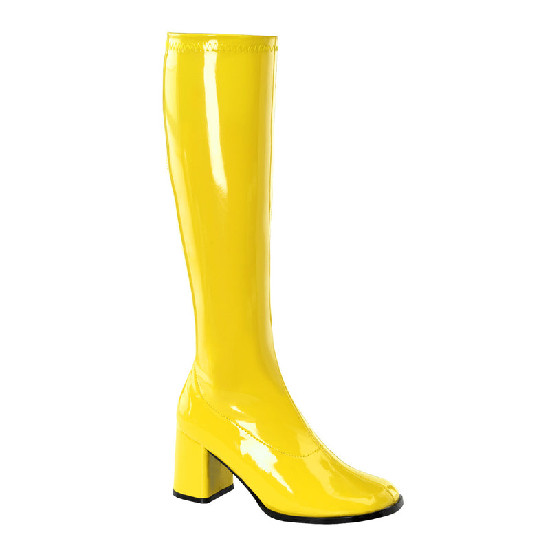 Gogo 300 Yellow Patent Knee High Boots