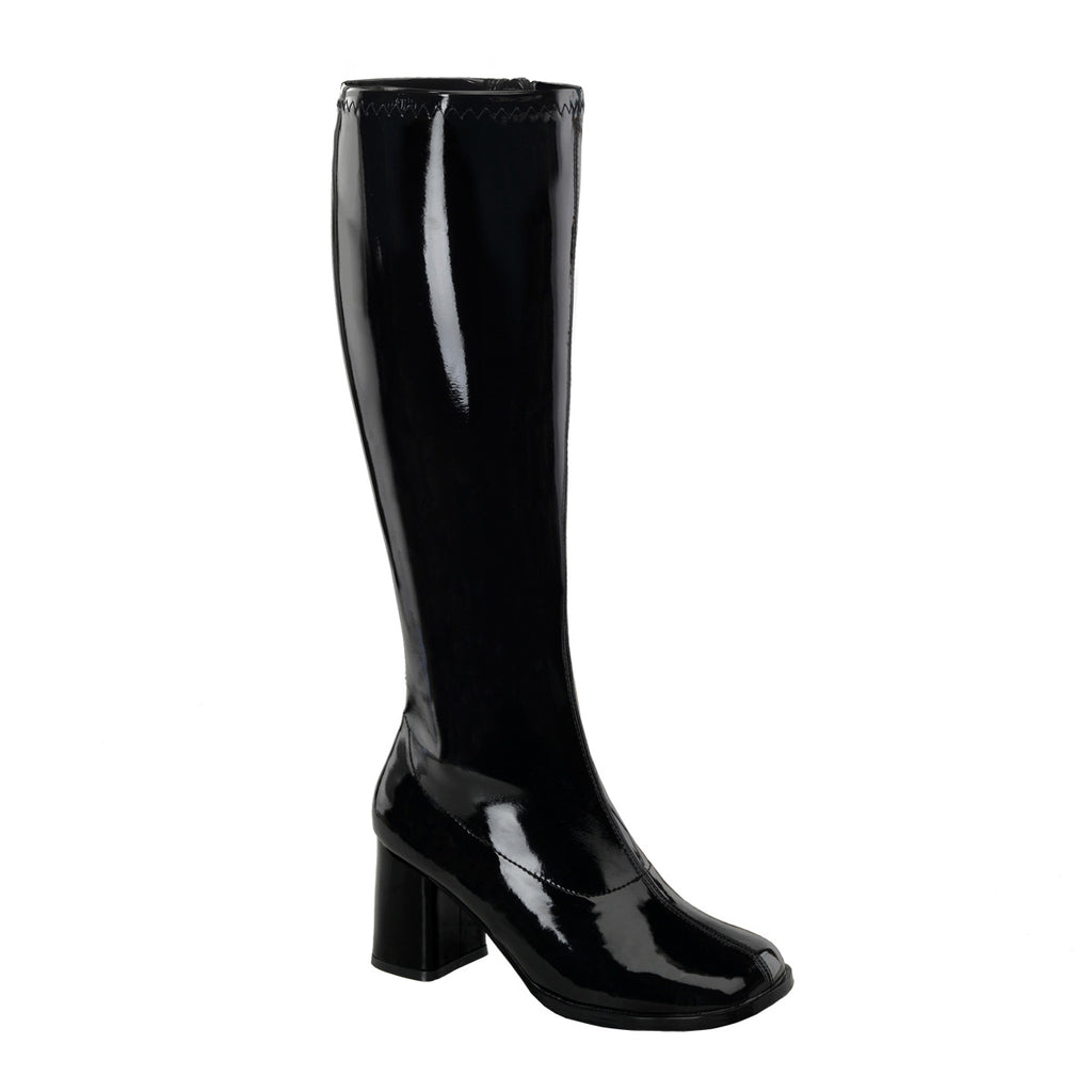 Gogo 300WC Wide Fit Black Patent Boots
