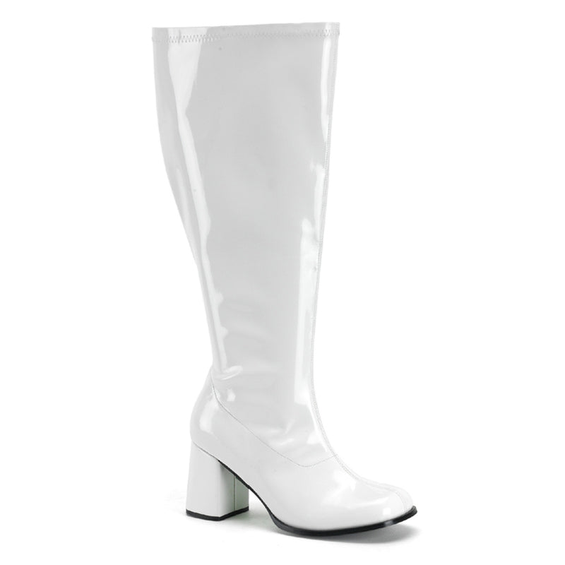 Gogo 300X Wide Calf Fit White Patent Boots