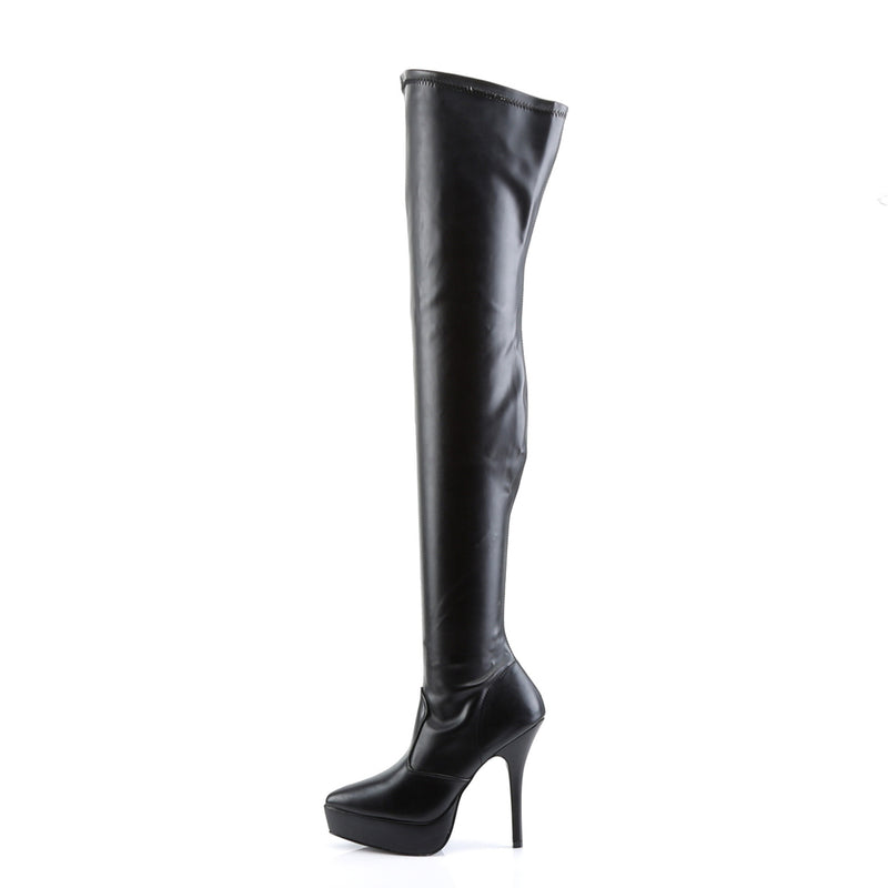 Indulge 3000 Black Faux Leather Thigh High Vegan Boots