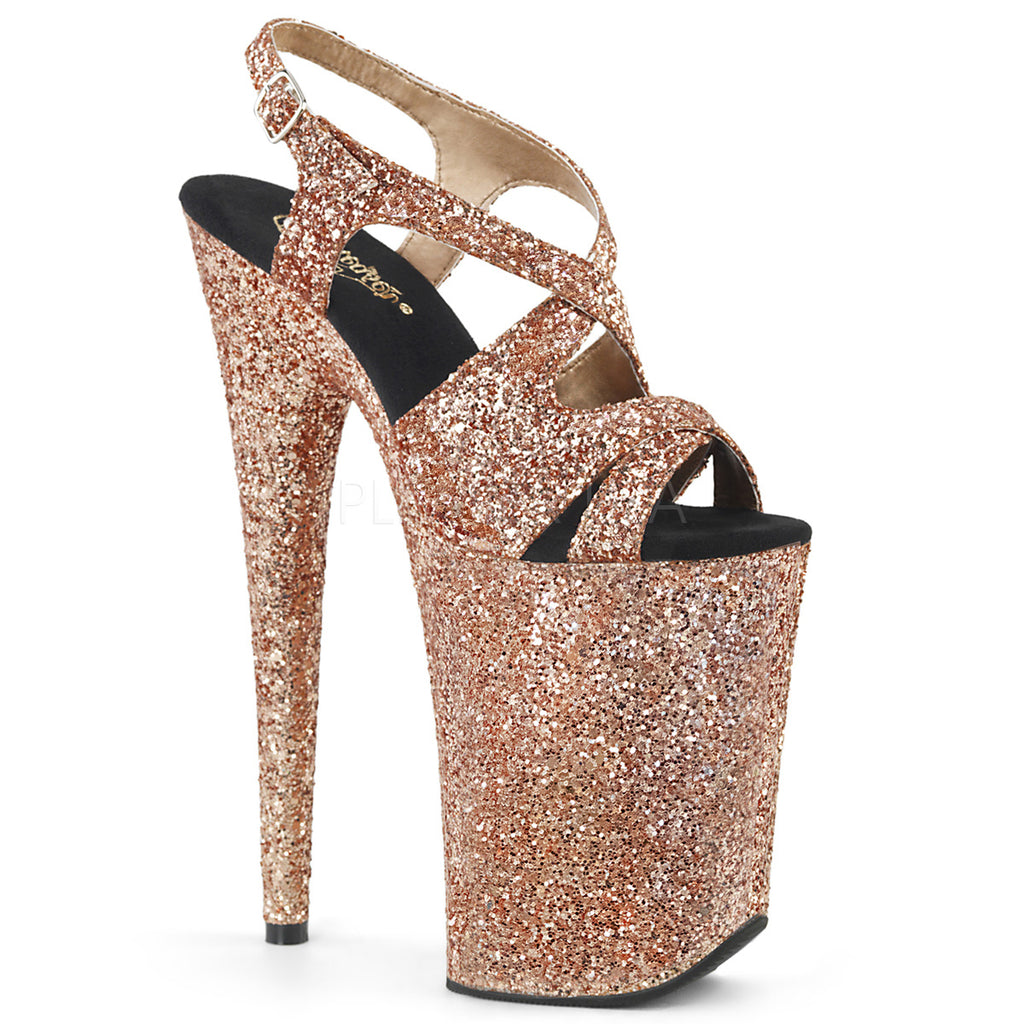 Infinity 930LG Rose Gold Glitter Strappy Platforms