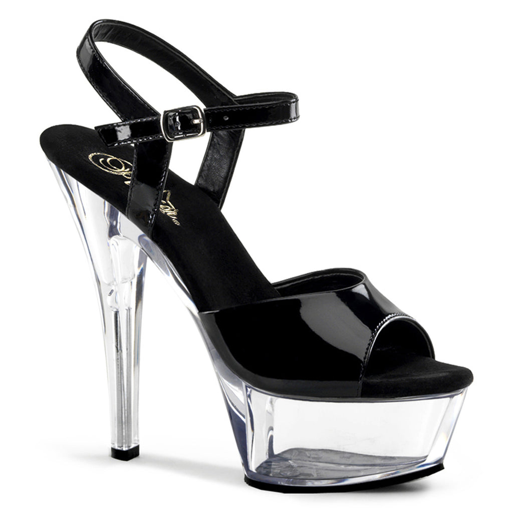 Pleaser Shoes Kiss-209 Black and Clear