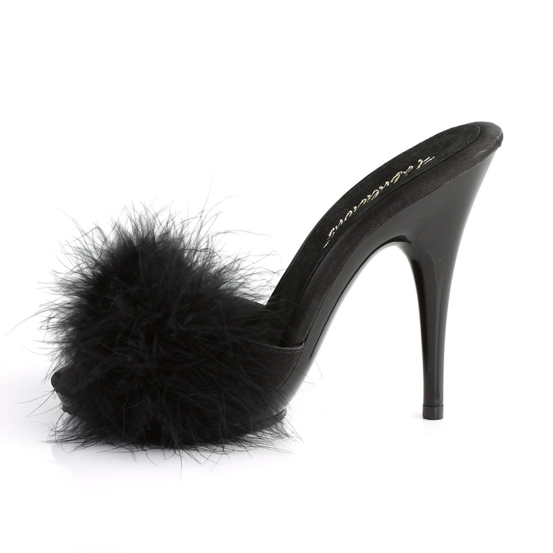 Poise 501F Black Furry Sandals