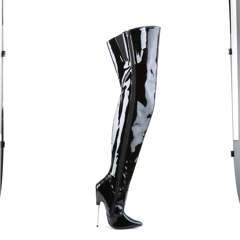 Scream 3010 Black Patent Steel Boots