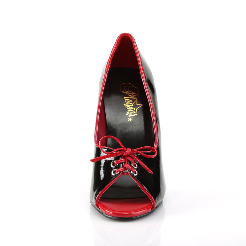 Seduce 216 Black and Red Peep Toe Pumps