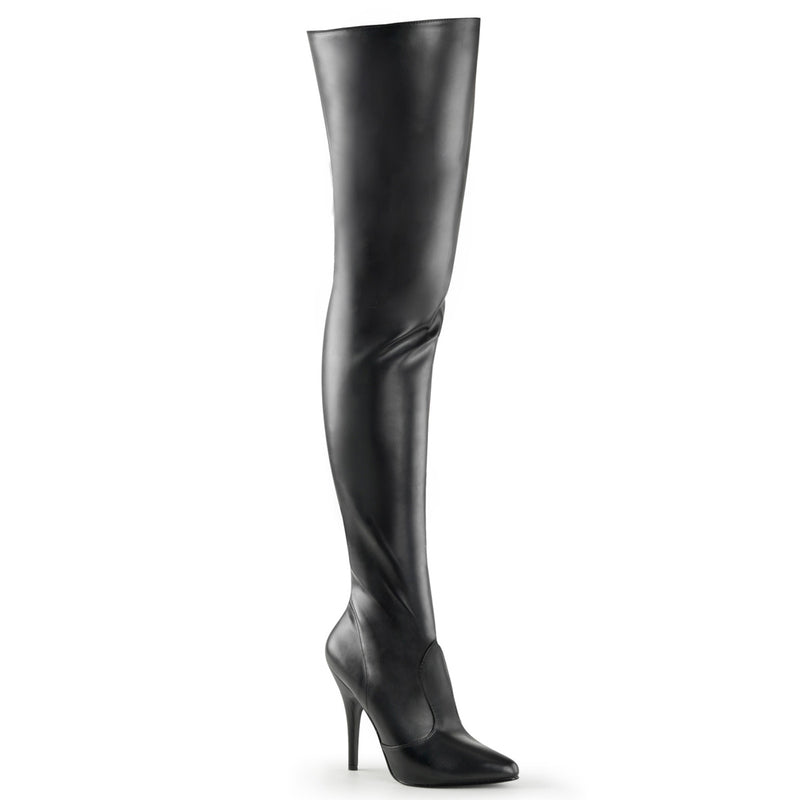 Seduce 3010 Black Faux Leather Thigh High Boots