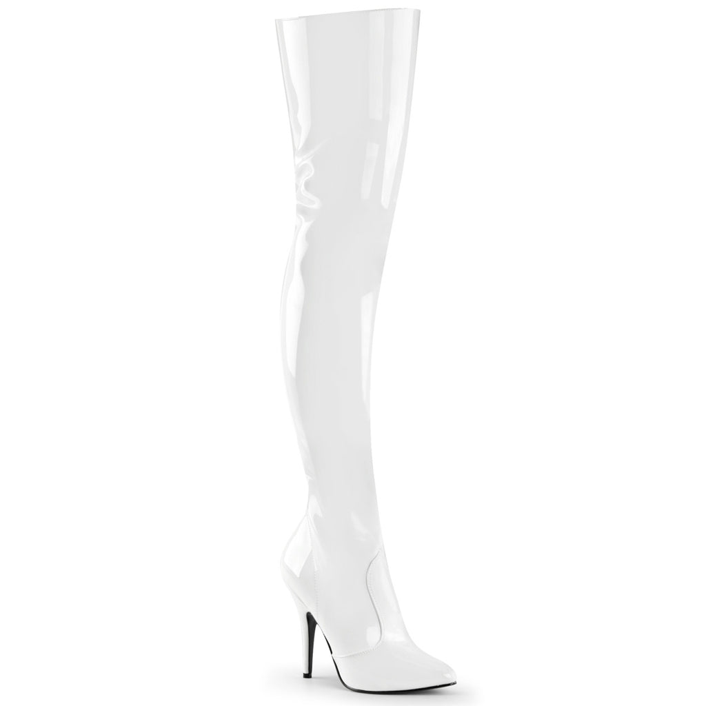 Seduce 3010 White Patent Thigh High Boots