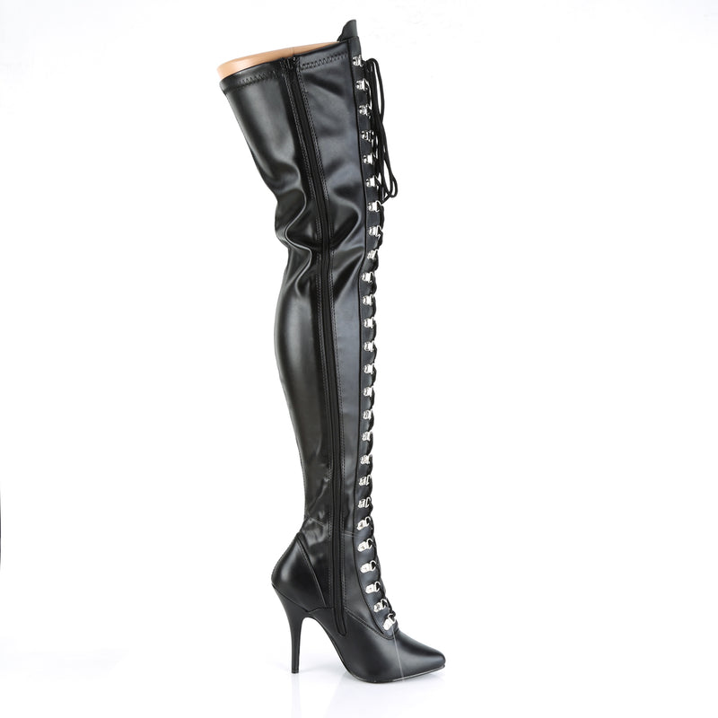Seduce 3024 Black Faux Leather Thigh High Boots