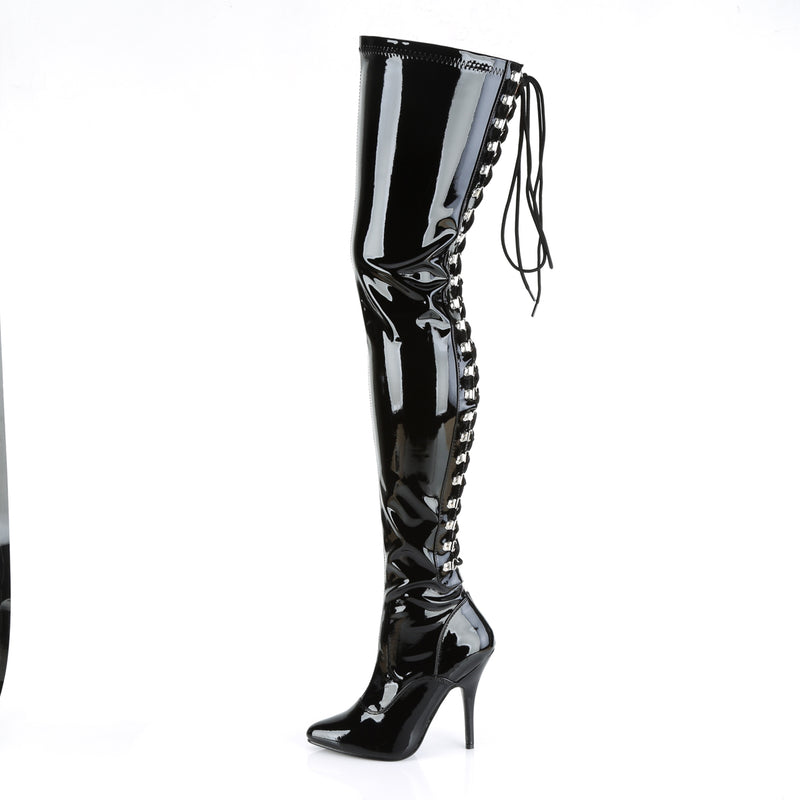 Seduce 3063 Black Patent Thigh High Boots