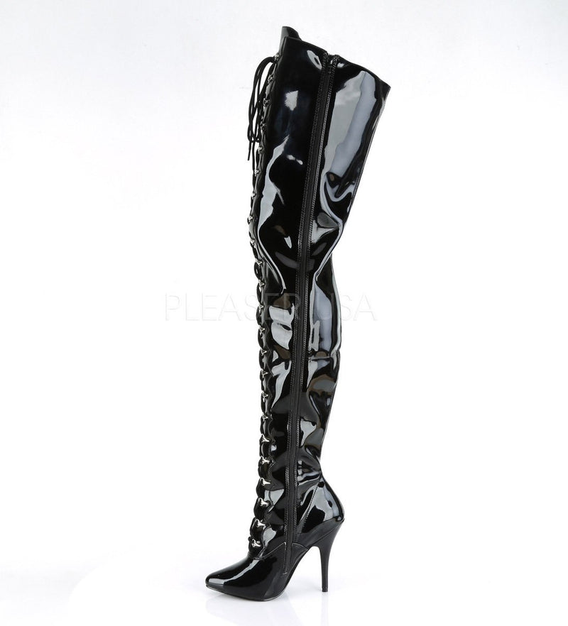 Seduce 4026 Black Patent Thigh High Boots