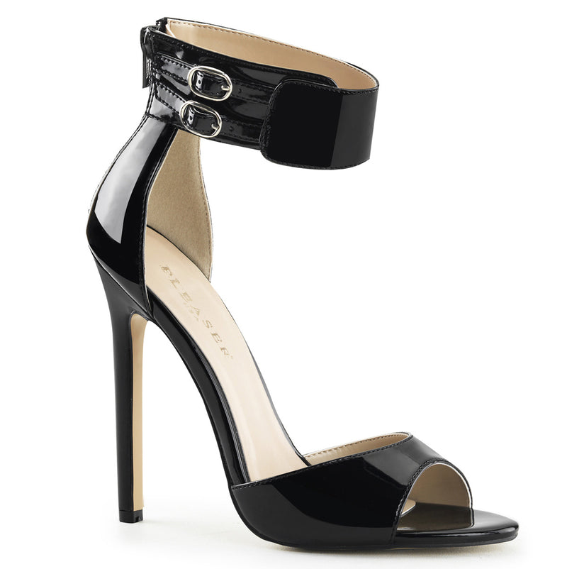 Sexy 19 Black Patent Wide Ankle Strap Sandals