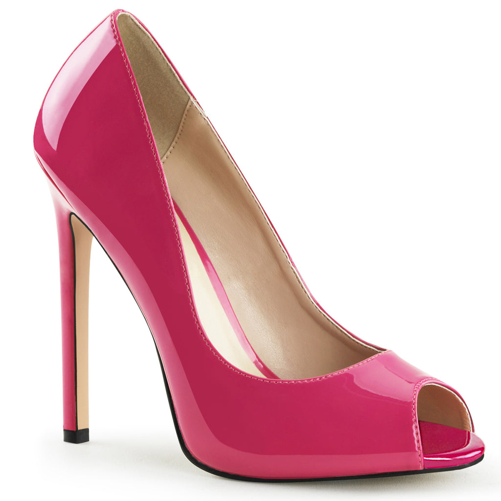 dd6da49b612 Sexy 42 Hot Pink Patent Peep Toe Pumps