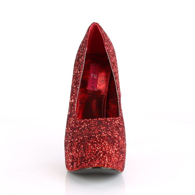 Teeze 06GW Wide Fitting Red Glitter Platforms