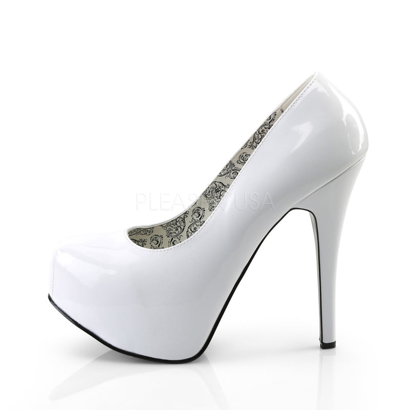 Teeze 06W Wide Fitting White Patent Platforms