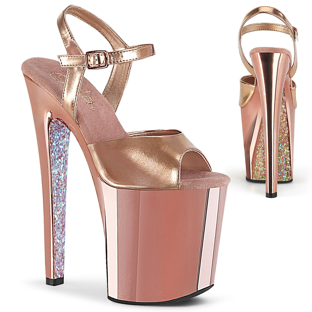 Xtreme 809TTG Rose Gold Chrome Glitter Platforms