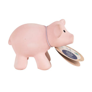 Pig - Natural Rubber Baby Rattle & Bath Toy - Tikiri Toys