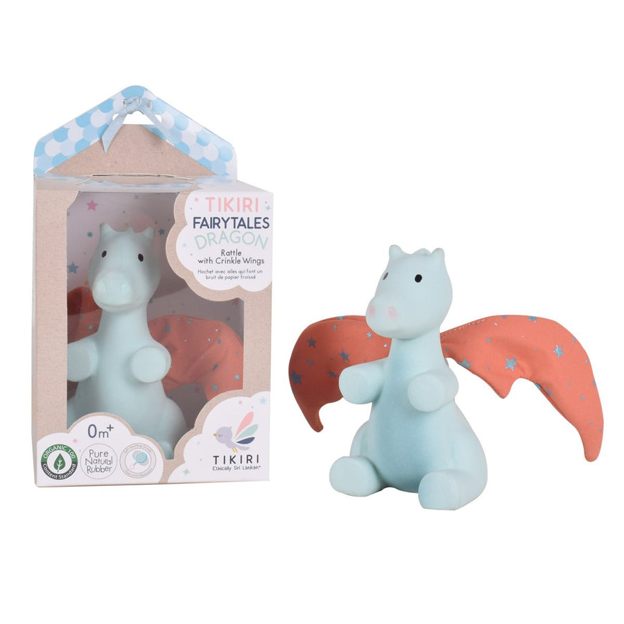 Sunrise Dragon Natural Rubber Baby Rattle - Tikiri Toys