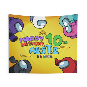 Among Us Birthday Banner Wall Tapestries - 6