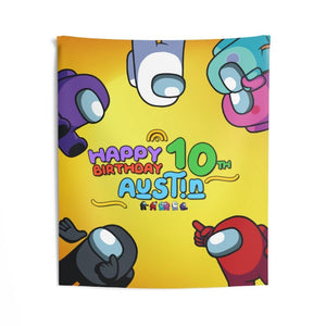 Among Us Birthday Banner Wall Tapestries - 3