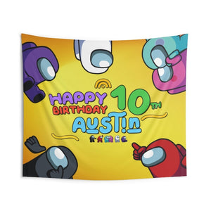 Among Us Birthday Banner Wall Tapestries - 1