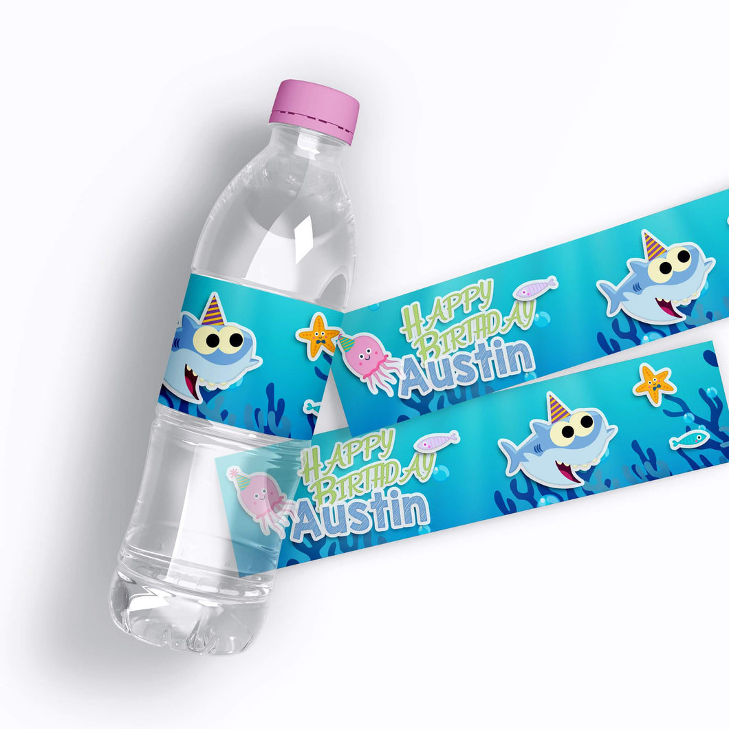 Baby Shark Birthday Water Bottle Labels - 1