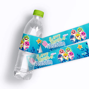 Baby Shark Birthday Water Bottle Labels - 2