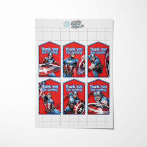 Captain America Thank You Tags - 2