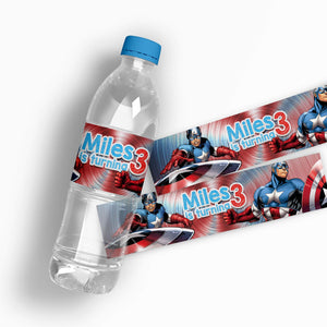 Captain America Water Bottle Labels - 1