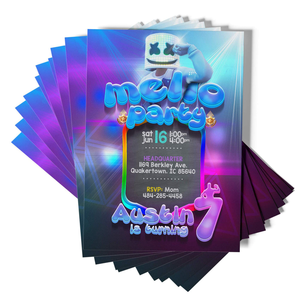 Fortnite DJ Marshmello Invitations - 1