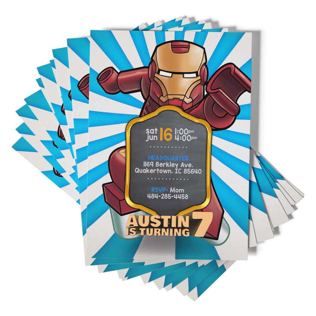 Lego Iron Man Invitations - 1