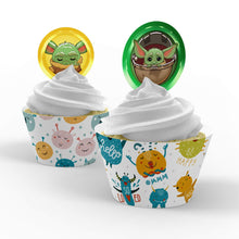 Load image into Gallery viewer, Mandalorian Baby Yoda Cupcake Toppers - 1