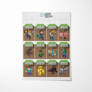 Minecraft party Thank You Cards