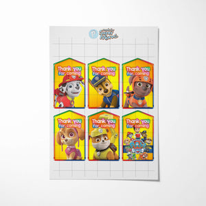 Paw Patrol Thank You Tags - 2