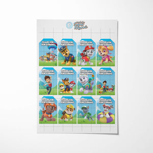 Paw Patrol Thank You Tags - 3