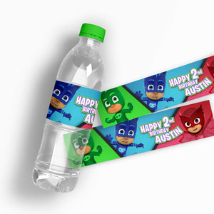 PJ Masks Water Bottle Labels - 1