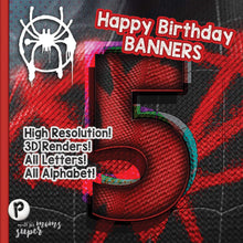 Load image into Gallery viewer, Spiderman Birthday Banners - 1