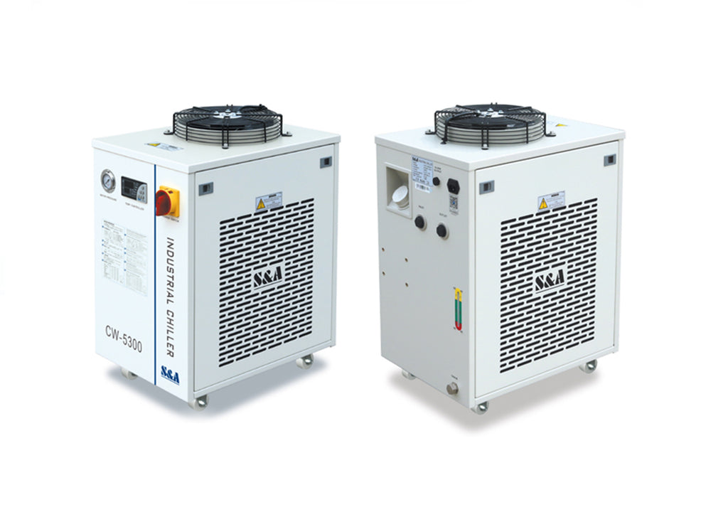 S&A Chiller CW-5200 Industrial Water Cooler frontal and rear views