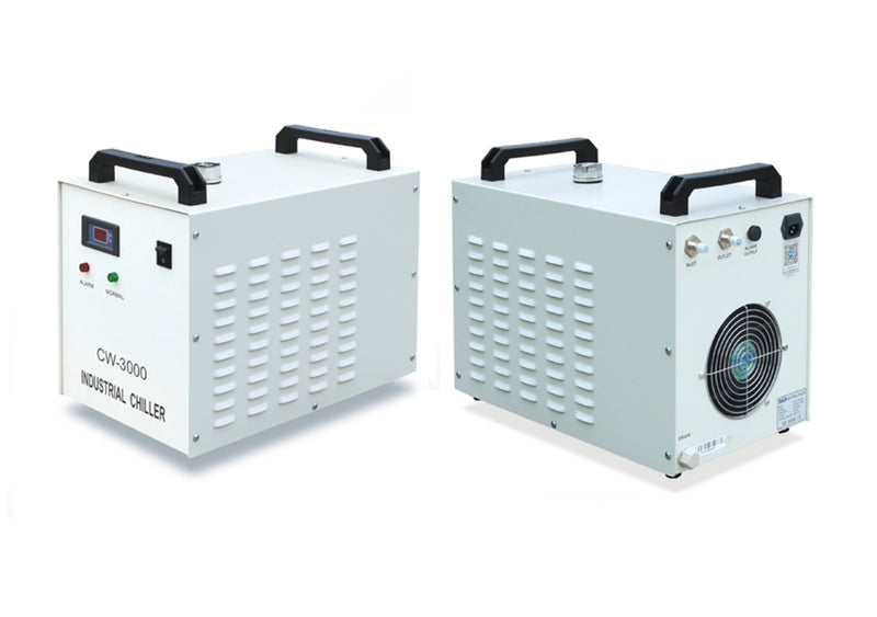 S&A Chiller CW-3000 cooler front and rear views