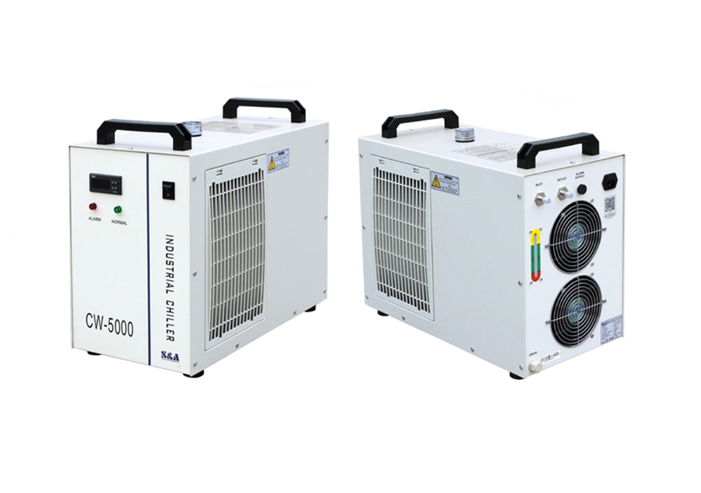 S&A Chiller CW-5000 Industrial Water Cooler frontal and rear views
