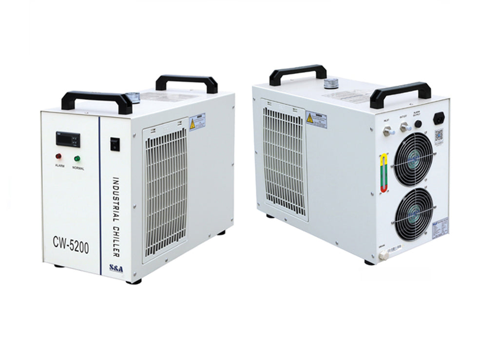 S&A Chiller CW-3000 Industrial Water Cooler frontal and rear view