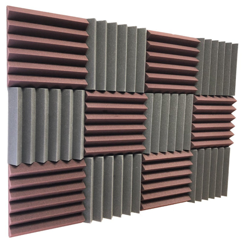burgundy and black acoustic foam panels for sound absorption