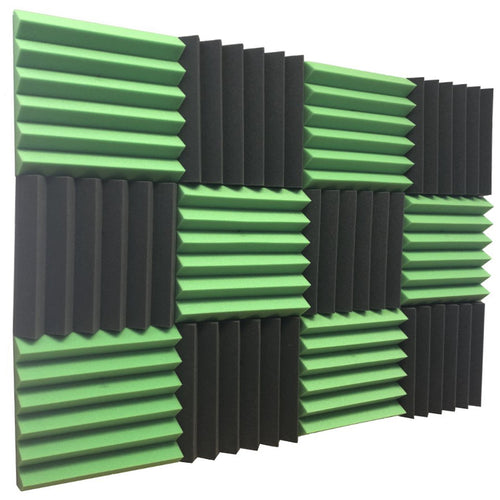 green and black acoustic foam panels for sound absorption