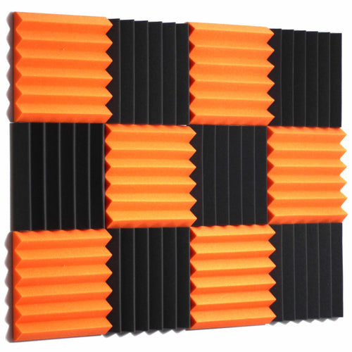 orange and black acoustic foam panels for sound absorption