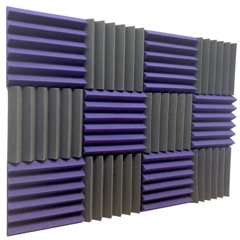 purple and black acoustic foam panels for sound absorption