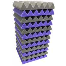 "Load image into Gallery viewer, 2"" x 12"" x 12""-12PK Purple and Black Acoustic Wedge Soundproofing Studio Foam Tiles"