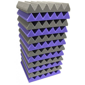"2"" x 12"" x 12""-12PK Purple and Black Acoustic Wedge Soundproofing Studio Foam Tiles"