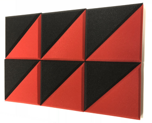 "2"" RED/CHARCOAL 12 Pack Acoustic Bevel TRIANGLE Soundproofing Studio Foam Tiles"