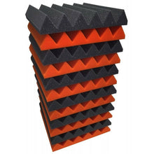 Load image into Gallery viewer, 2x12x12-12PK ORANGE/CHARCOAL Acoustic Wedge Soundproofing Studio Foam Tiles Panels